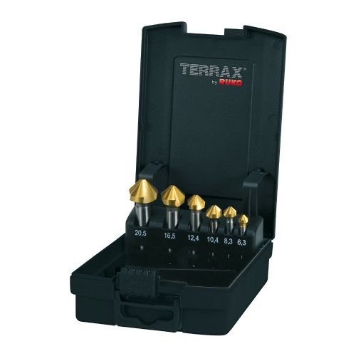 Terrax by Ruko Set of 6 HSS TiN Coated Metal Countersink Deburring Bits 6.3mm - 20.5mm